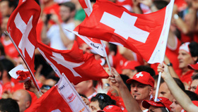 swiss supporter with flag